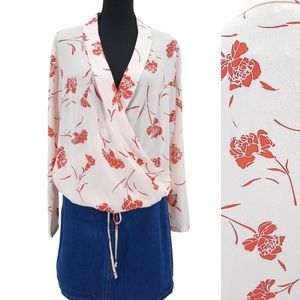 NWT Lumiere Floral Polyester Wrap Front Drawstring Waist Long Sleeve Blouse M